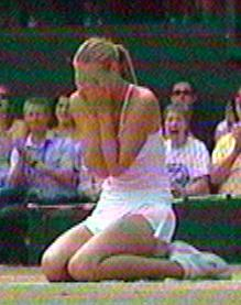 Maria Sharapova crying after her victory - click to enlarge